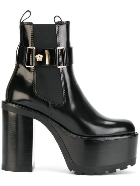 VERSACE women boots ankle boots leather black shoes