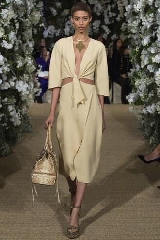 skirt top midi skirt two piece dress set two-piece sandals runway nyfw 2017 ralph lauren fashion week 2017 necklace