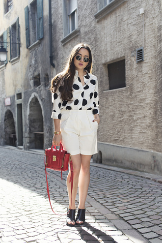 blaastyle blogger red bag white shorts polka dots satchel bag valentino mules peep toe heels shirt