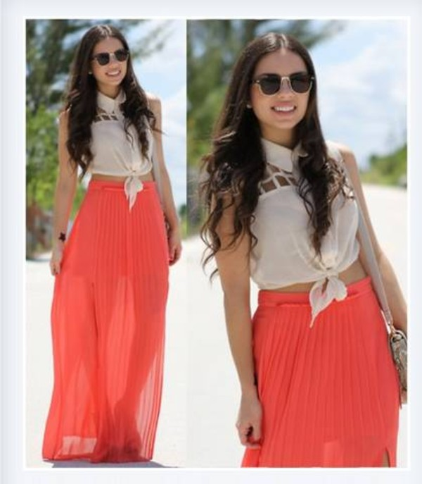 skirt long peach maxi skirt pleated skirt shirt cut-out sleeveless coral tie up chiffon lovely t-shirt dress