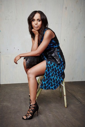 dress kerry washington slit dress celebrity style celebrity blue dress printed dress sandals sandal heels high heel sandals black sandals sleeveless dress black girls killin it olivia pope actress party outfits