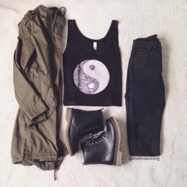 jacket jeans shoes tank top top yin yang crop tops