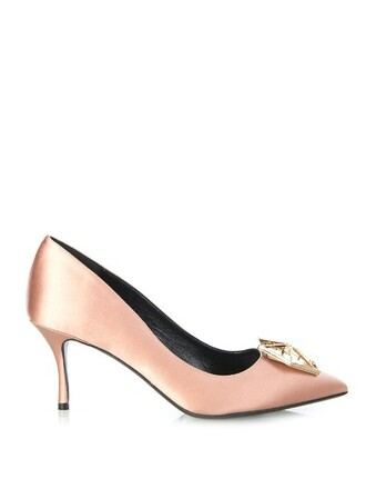 pumps satin nude shoes