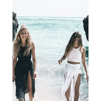 dress top crop tops white black girly fashion outfit tumblr outfit tumblr beach beautiful