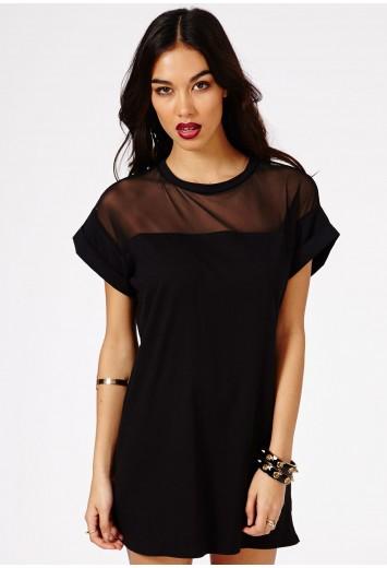 04e8d5a24df Amara Mesh Panel T-Shirt Dress - Dresses - Jersey Dresses - Missguided