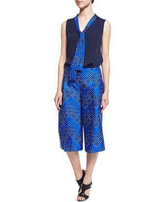 pants print culottes blue culottes blue bright blue diane von furstenberg