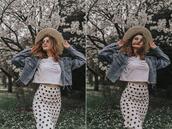 lolita mas,blogger,t-shirt,skirt,sunglasses,shoes,hat,bag,jacket,denim jacket,polka dot skirt,spring outfits