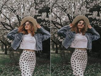 lolita mas blogger t-shirt skirt sunglasses shoes hat bag jacket denim jacket polka dot skirt spring outfits