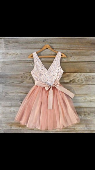 dress prom dress prom sparkle short dress bow pink dress, peach dress, maxi dress, evening dress, tulle skirt
