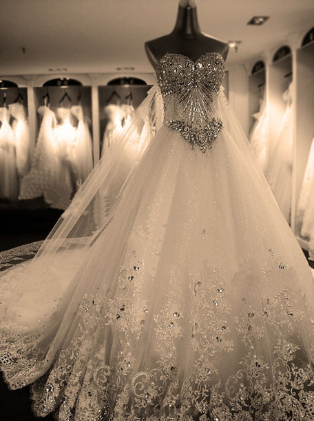 dress, wedding, diamonds, gown, wedding clothes, wedding dress ...