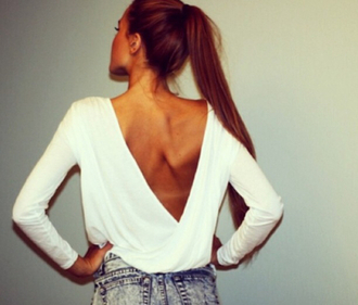 t-shirt top open back v back sexy white