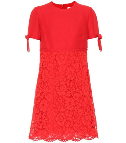 Valentino Lace and crêpe minidress in red