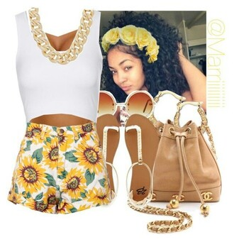 shorts yellow sunflower necklace white gold trendy summer gold chain flowered shorts