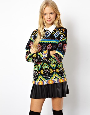 ASOS | ASOS Vintage Jacquard Jumper With Woven Collar at ASOS