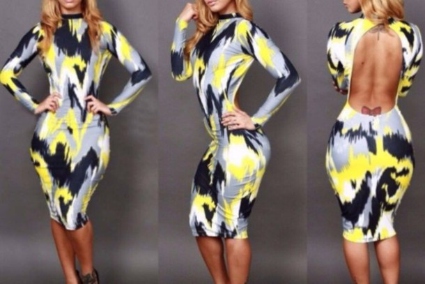 dress black & yellow abstract dress