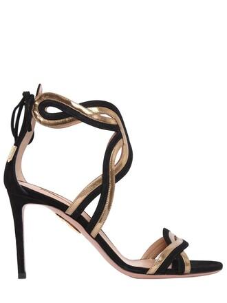 moon sandals suede gold black shoes