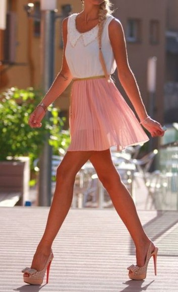 chiffon skirt pink peach pleated skirt