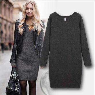 dress charcoal grey dress long sleeve dress fall outfits
