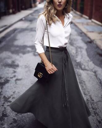 skirt tumblr maxi skirt green skirt khaki bag black bag shirt white shirt shoes