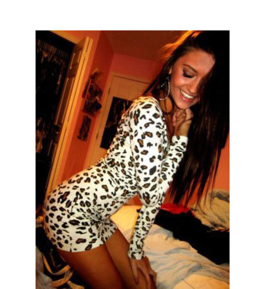 leopard white long sleeve print dress animal