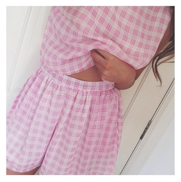 shorts two-piece pink cute two-piece