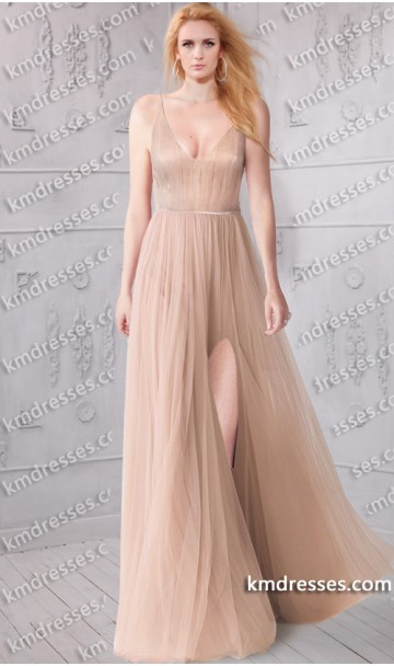 Gorgeous v neckline soft tulle gown inspired by selena gomez
