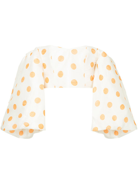 Bambah blouse women polka dots white silk top
