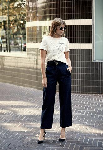 t-shirt pumps sunglasses tumblr white t-shirt denim jeans blue jeans culottes puma pointed toe pumps suede pumps