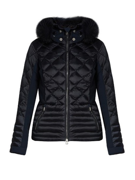 55ed0a48eca61 TONI SAILER Flora fur-trimmed ski jacket in navy - Wheretoget