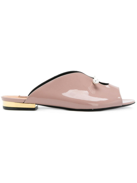Coliac women mules leather nude shoes