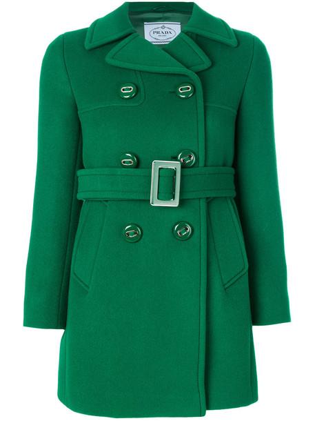 coat double breasted women wool green