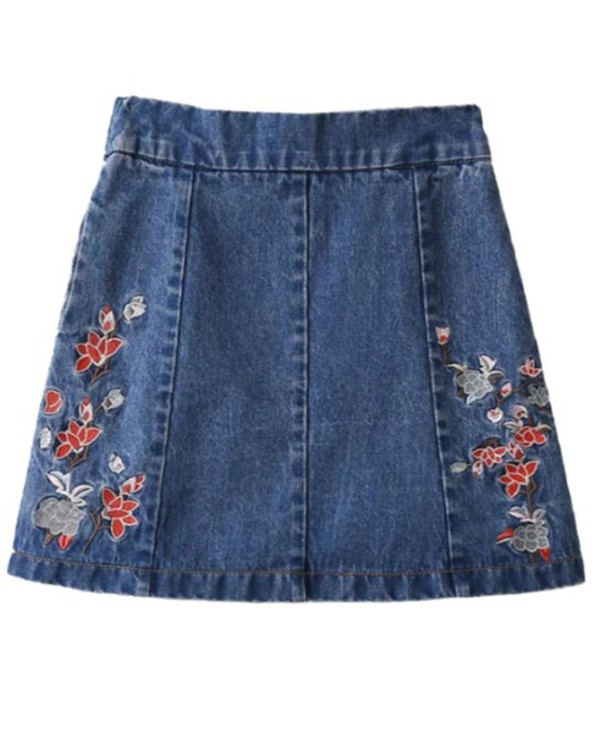 skirt girly denim denim skirt embroidered floral