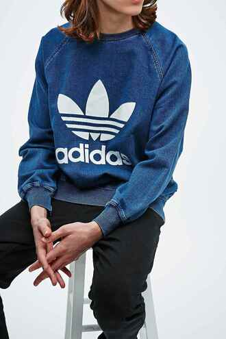 sweater denim denim sweater adidas adidas originals 90s style blue sweater adidas sweater