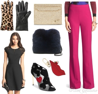 fashion addict blogger bag gloves leopard print gold lips peep toe boots flare little black dress furry pouch