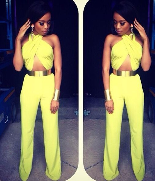 jumpsuit yellow green jumpsuit