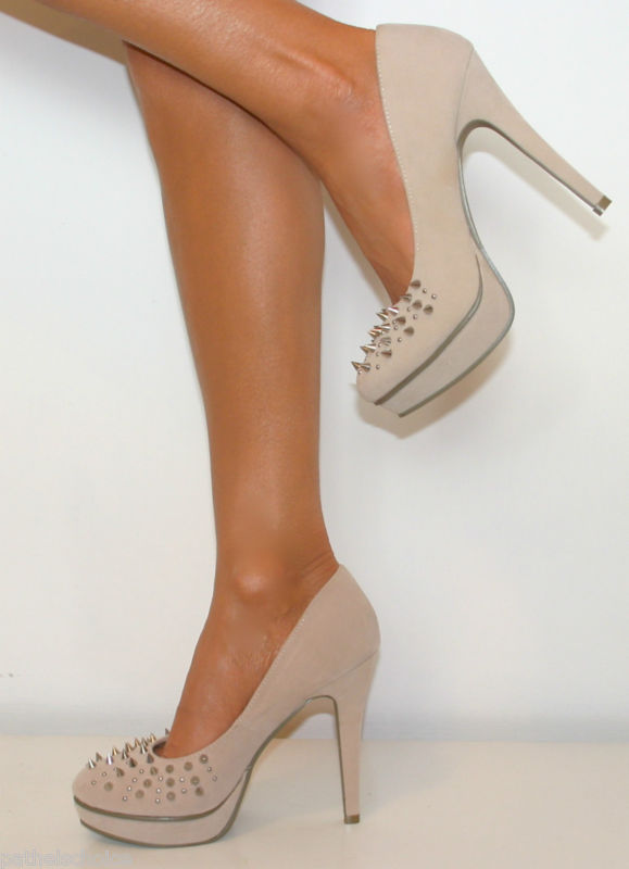 NUDE SPIKE STUDDED PLATFORM COURT SHOE STILETTO HIGH HEELS SIZE ...