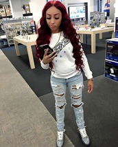 jeans,ella bands,a boogie girlfriend,new york city,slay lashes,red hair,red eyebrows,gold link,Mua,team iphone,ripped jeans,hightop sneakers,nude nails,stilleto nails,cuban,black,not worried,nicki minaj style