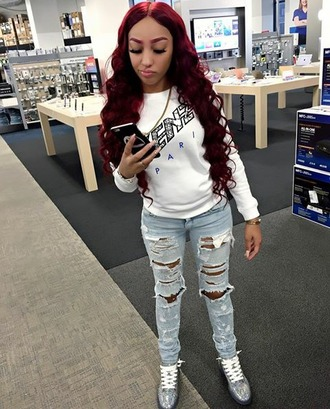jeans ella bands a boogie girlfriend new york city slay lashes red hair red eyebrows gold link mua team iphone ripped jeans hightop sneakers nude nails stilleto nails cuban black not worried nicki minaj style