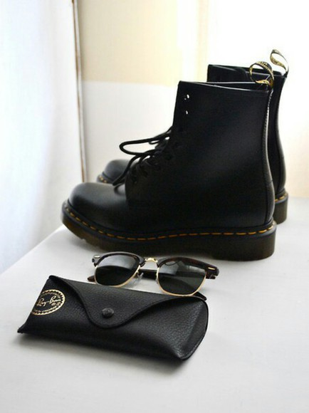 shoes DrMartens black boots grunge sunglasses rayban hipster
