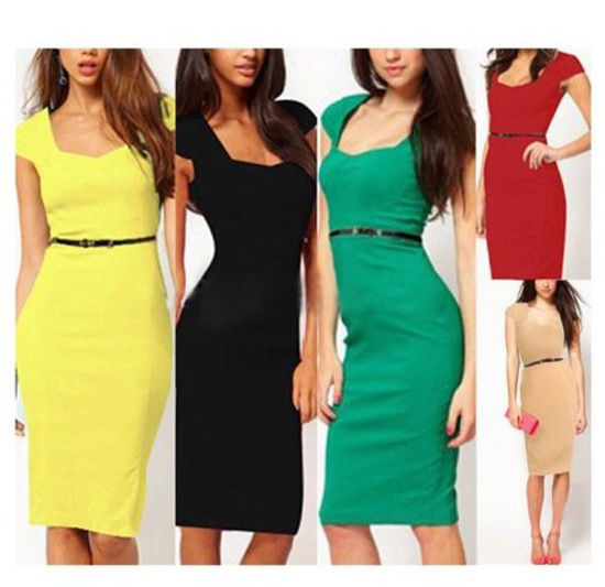 New Women Sexy Business Square Neck Rockabilly Bodycon Party Pencil Wiggle Dress | eBay