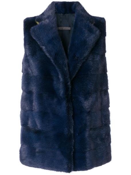 SIMONETTA RAVIZZA jacket sleeveless fur women blue silk