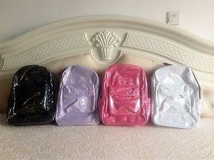 Women Hologram Holographic Metallic Silver Glitter School Bag BOOKBAG Backpack