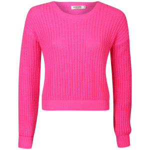 Moku Women's Crop Fisherman Knit Jumper - Neon Pink 			Womens Clothing | TheHut.com