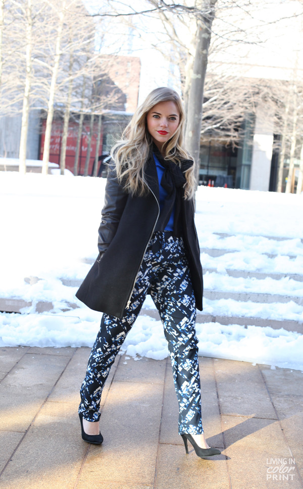 living in color print pants sweater blouse jacket shoes dress