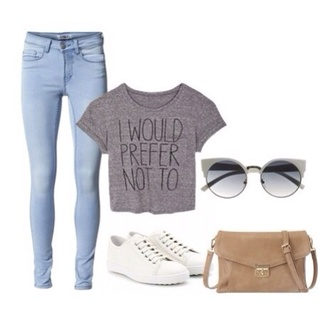 casual simple printed tee t-shirt sunglasses jeans