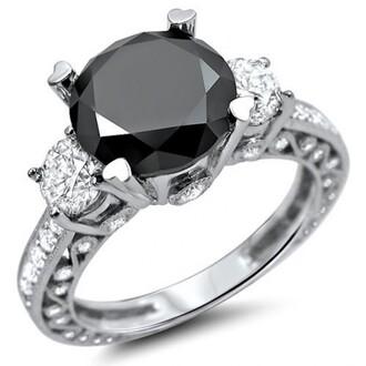 jewels three stone black diamond ring round black engagement ring evolees.com vintage white gold plated silver round cut black diamond 3 stone engagement ring