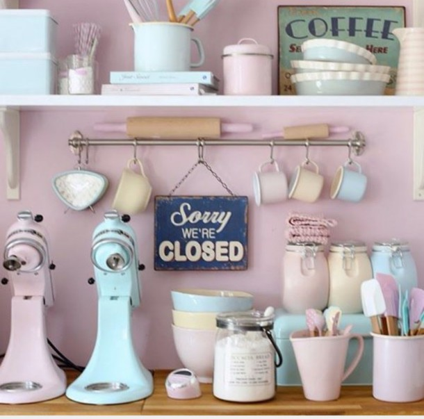 Home Accessory Kitchen Decor Pastel Pink Blue Accessories