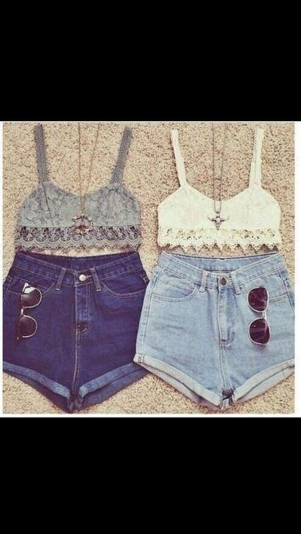 shorts top sunglasses