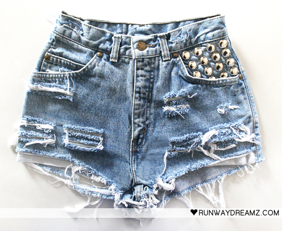 Runwaydreamz : 450 vintage frayed studded short