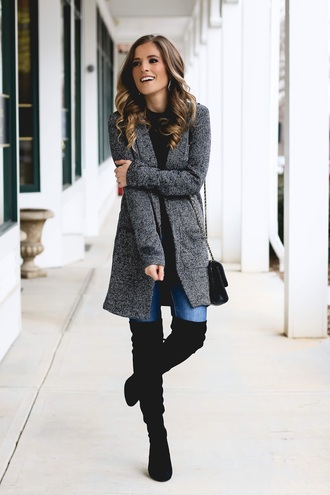 thedaintydarling blogger jacket jeans shoes bag jewels grey coat winter outfits boots